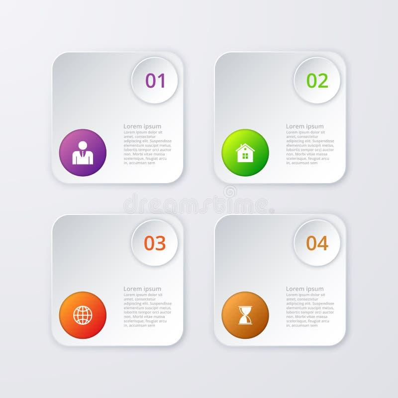 Download Infographics Dell'illustrazione Di Vettore Quattro Opzioni Illustrazione Vettoriale - Illustrazione di offerta, scheda: 56888990