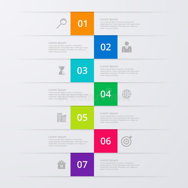 Infographics dell'illustrazione di vettore sette opzioni illustrazione vettoriale