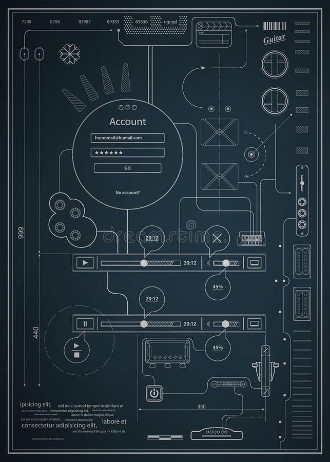 Infographics della cianografia che dissipa un disegno schematico royalty illustrazione gratis