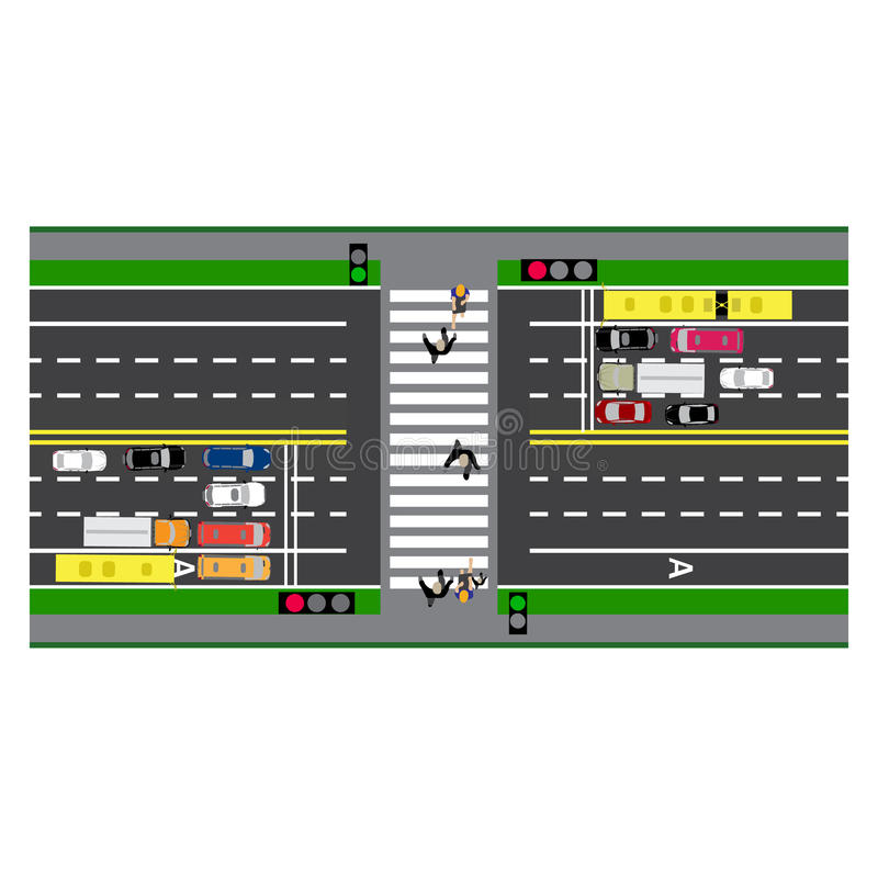 Infographics della strada Strada del diagramma, strada principale, via incrocio Con differenti automobili illustrazione di stock