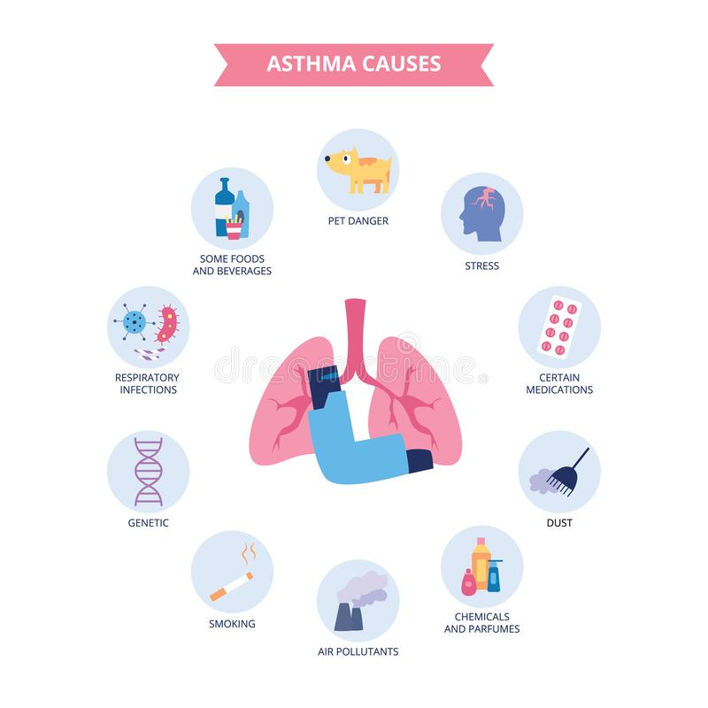 Infographics des Asthma bronchiale verursacht flache Karikaturart lizenzfreie abbildung