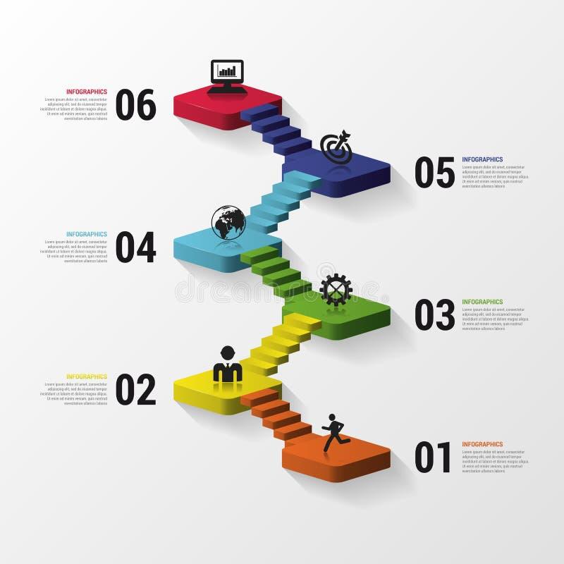 Infographics des escaliers 3d ou calibre abstrait de chronologie Illustration de vecteur illustration libre de droits
