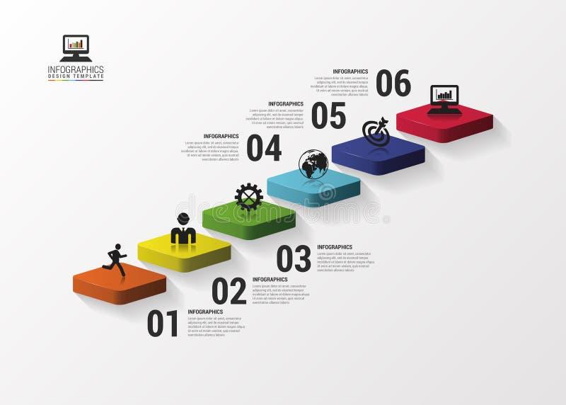 Infographics des escaliers 3d ou calibre abstrait de chronologie Illustration de vecteur illustration stock
