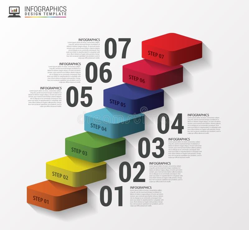 Infographics des escaliers 3d ou calibre abstrait de chronologie Vecteur illustration stock