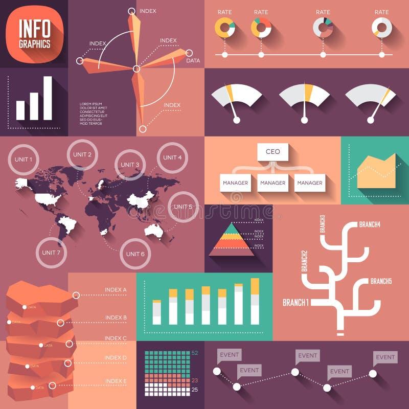Infographics des flachen Designs mit langen Schatten lizenzfreie abbildung