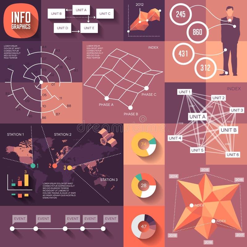 Infographics des flachen Designs mit langen Schatten vektor abbildung