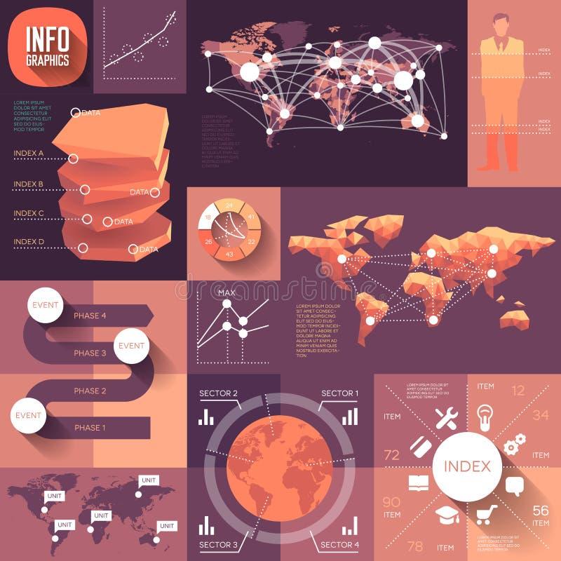 Infographics des flachen Entwurfs mit langen Schatten lizenzfreie abbildung