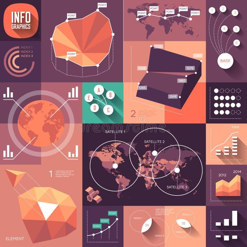 Infographics des flachen Entwurfs mit langen Schatten stock abbildung