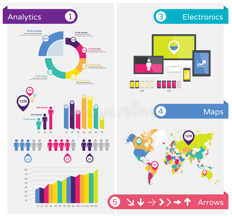 Infographics design elements, infographic template. Vector infographic illustration with charts, maps, arrows, tags and other design elements
