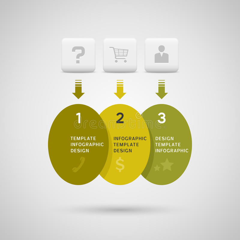 Infographics design with green yellow ellipse elements stock illustration