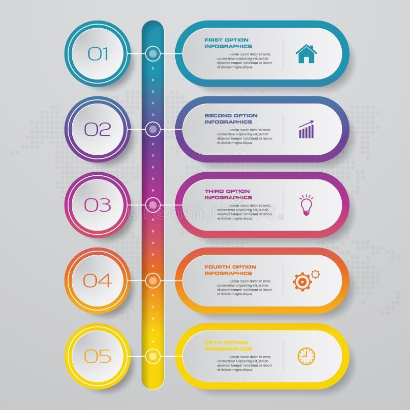 Infographics design med timelinen för 5 moment för din presentation stock illustrationer
