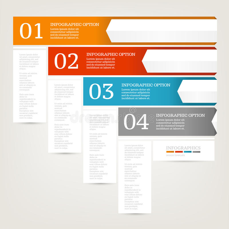 Infographics design template. Business concept with four options. Red, Blue, Orange, Grey colors. stock illustration