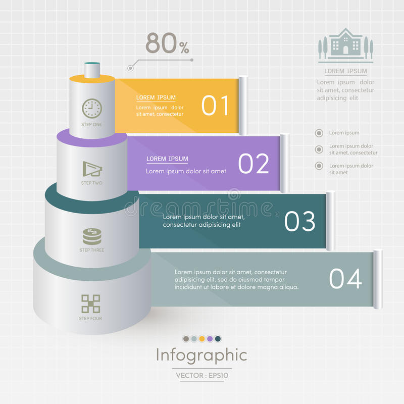 Infographics design template with business icons, process. Diagram, vector eps10 illustration royalty free illustration
