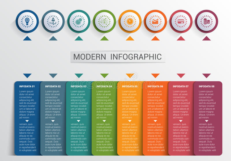Infographics design template, color buttons and 8 plates shapes stock illustration