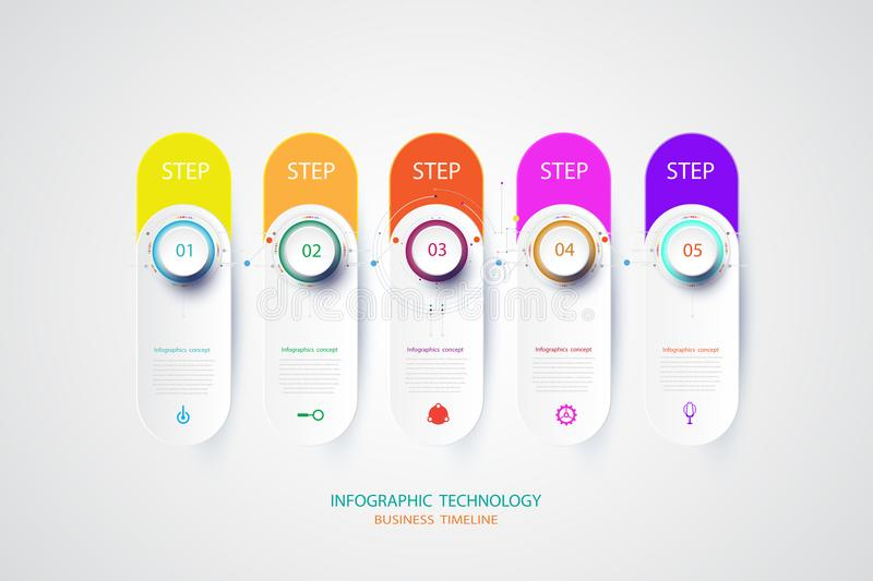 Infographics design template with 3D paper label and technology. Infographics design template with 3D paper and technology engineering telecoms can be used for stock illustration