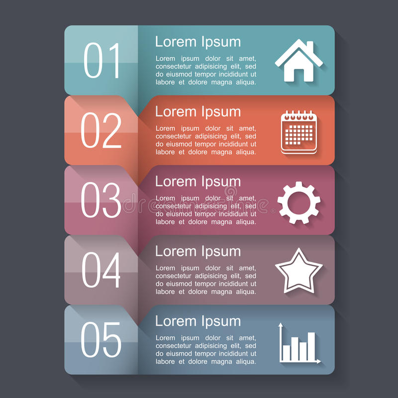 Infographics Design Template. With five elements, text boxes with numbers and icons royalty free illustration