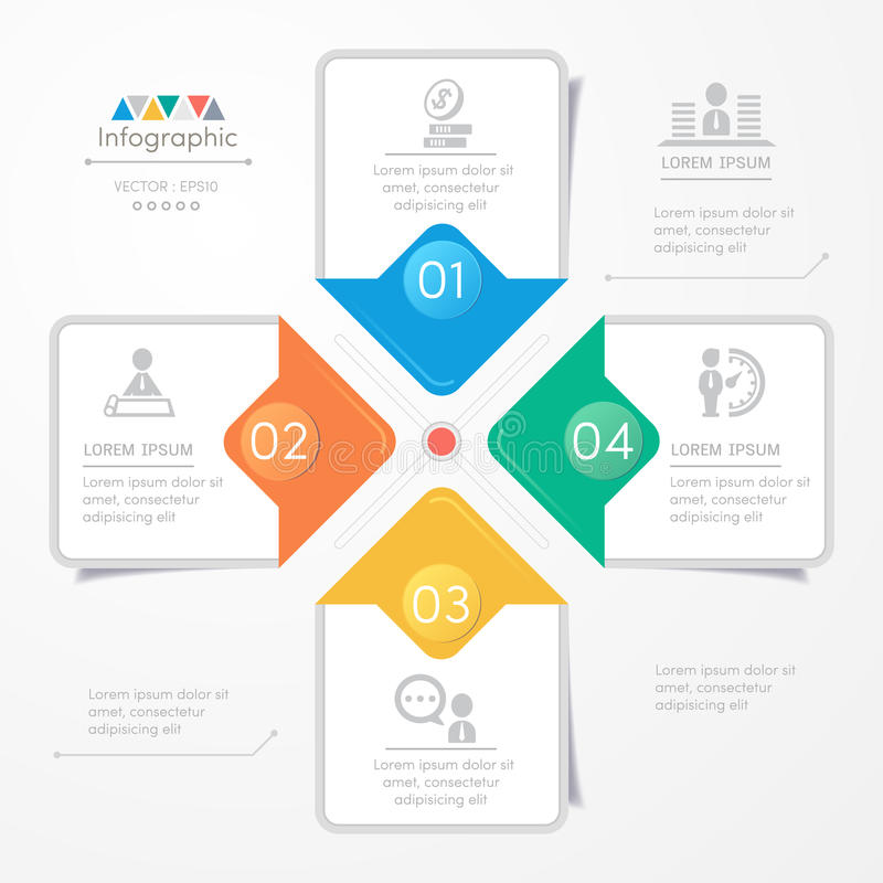 Infographics design template with icons, process diagram. Vector eps10 illustration stock illustration