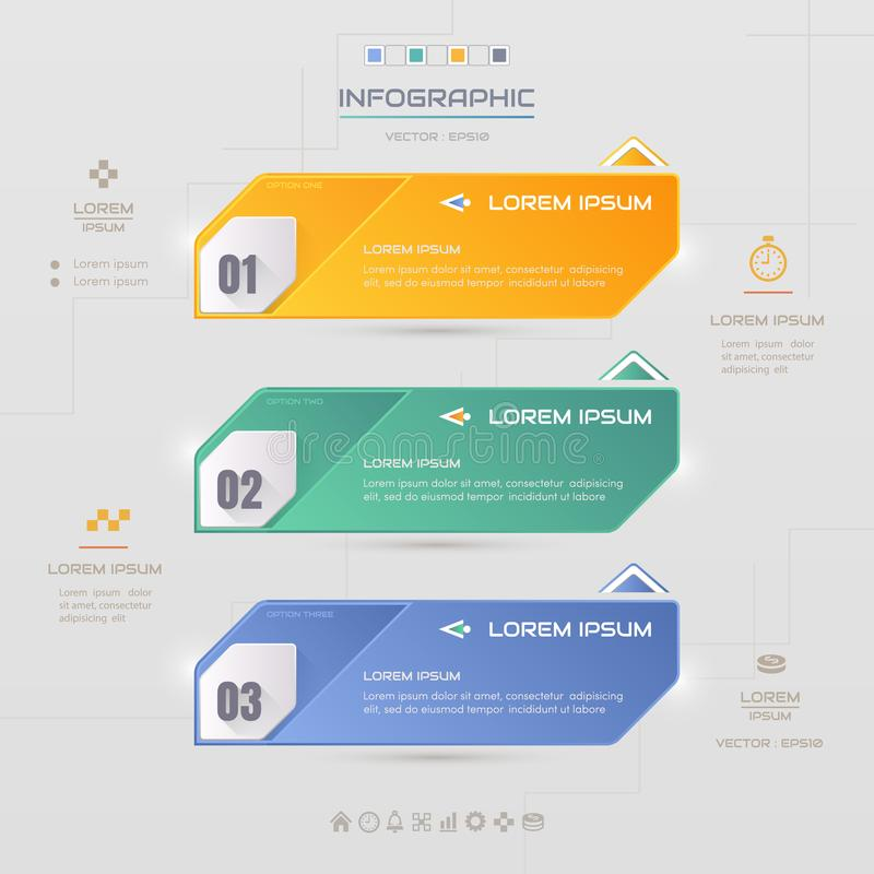 Infographics design template with icons, process diagram, vector. Eps10 illustration royalty free illustration