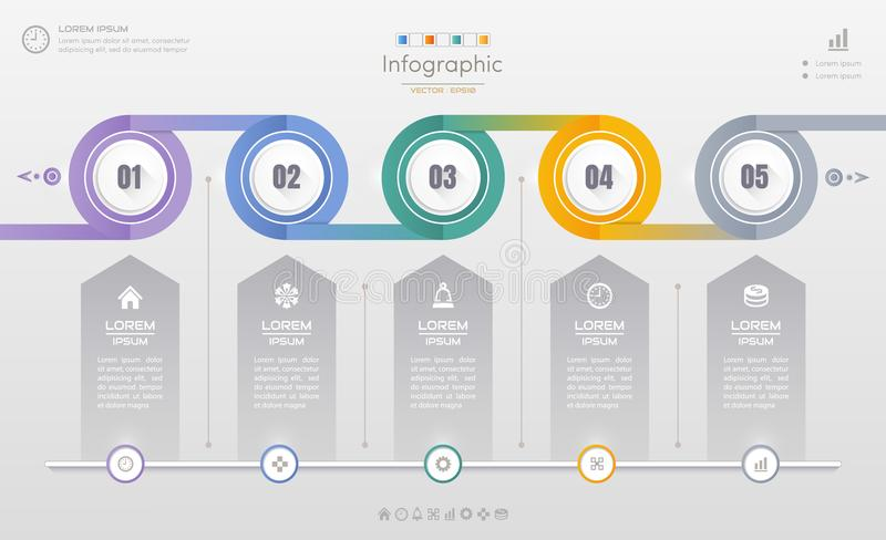 Infographics design template with icons, process diagram, vector. Eps10 illustration stock illustration