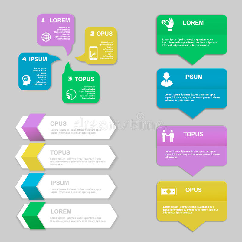 Infographics Design template. Numbered banners. Horizontal cutout lines for graphic or website, presentation and chart Vector stock illustration