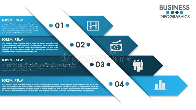 Infographics design template with 4 options concept vector and marketing icons can be used for workflow layout, diagram. vector illustration