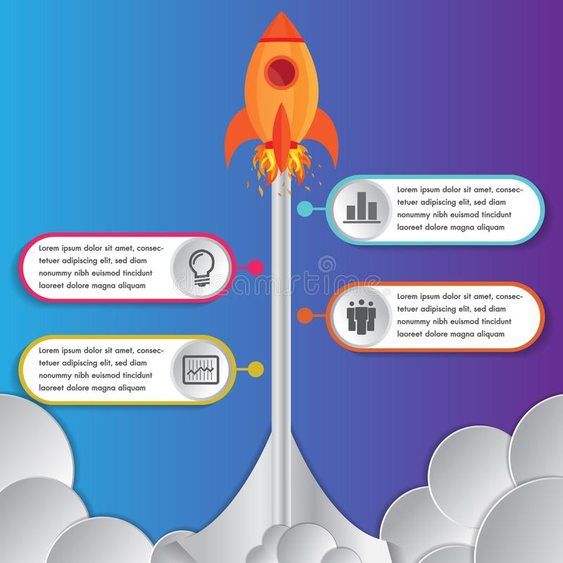 Infographics design template rocket or spaceship launches through the clouds with icons flying up 4 options elements arranged. In vertical row and year royalty free illustration