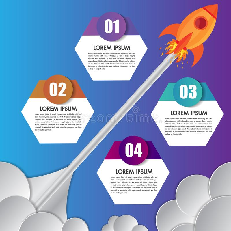 Infographics design template rocket or spaceship launches through the clouds with icons flying up 4 options elements arranged. In vertical row and year stock illustration