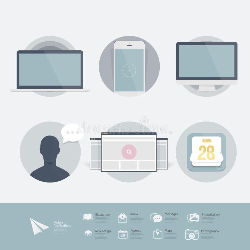 Infographics-Design UI Elemente: Flache UI-Ausrüstung mit den Ikonen eingestellt. lizenzfreie abbildung