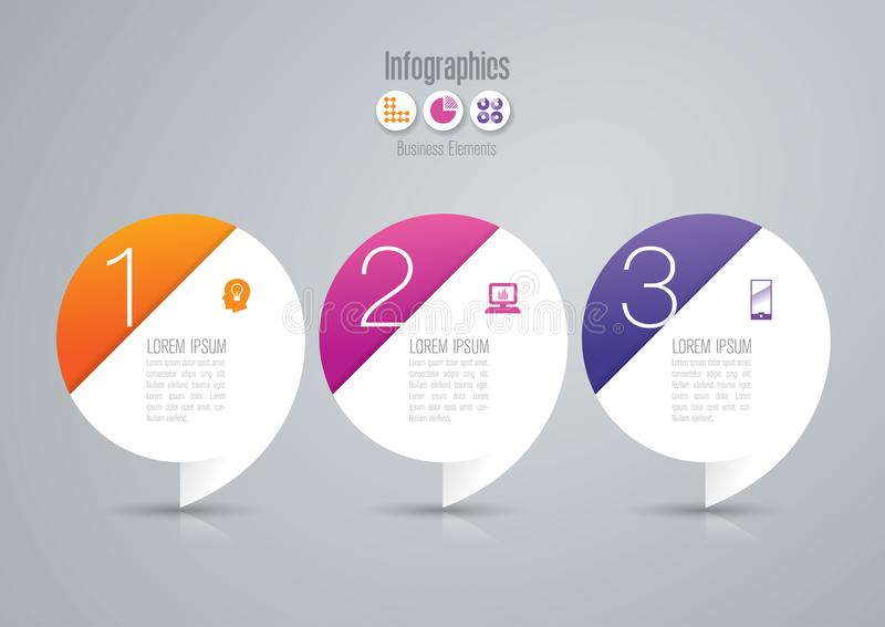 Infographics design vector and business icons with 3 options. royalty free illustration