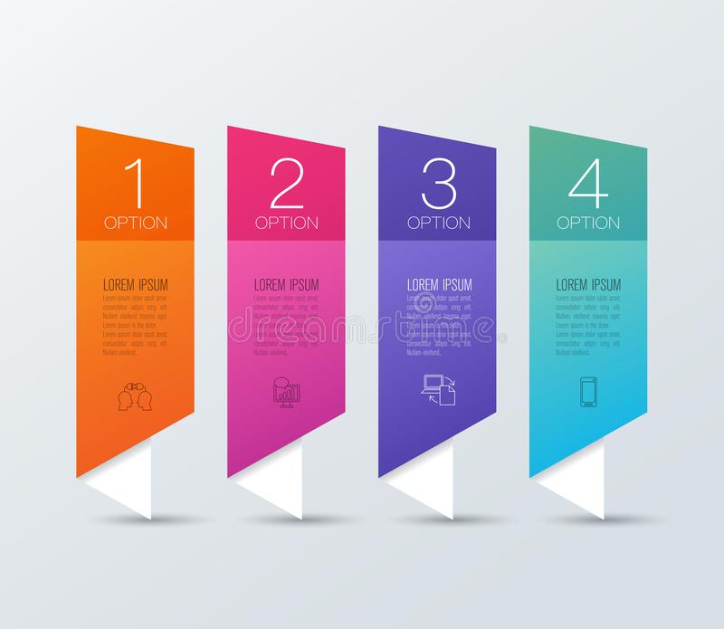 Infographics design vector and business icons with 4 options. Infographics design vector and marketing icons can be used for workflow layout, diagram, annual royalty free illustration