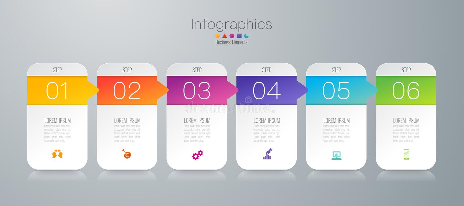 Infographics design vector and business icons with 6 options. Infographics design vector and marketing icons can be used for workflow layout, diagram, annual royalty free illustration