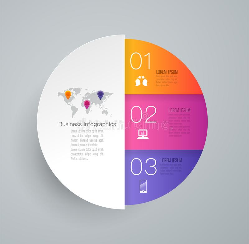 Infographics design vector and business icons with 3 options. vector illustration