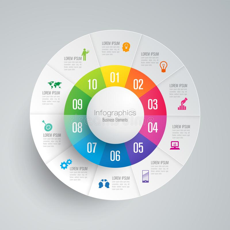 Infographics design vector and business icons with 10 options. Infographics design vector and marketing icons can be used for workflow layout, diagram, annual vector illustration