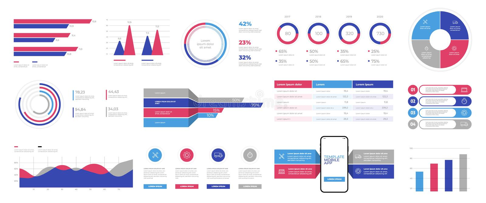 Infographics design vector and marketing icons can be used for workflow layout royalty free illustration