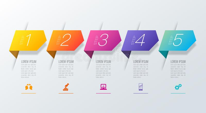 Timeline infographics design vector and business icons with 5 options. Infographics design vector and marketing icons can be used for workflow layout, diagram stock illustration