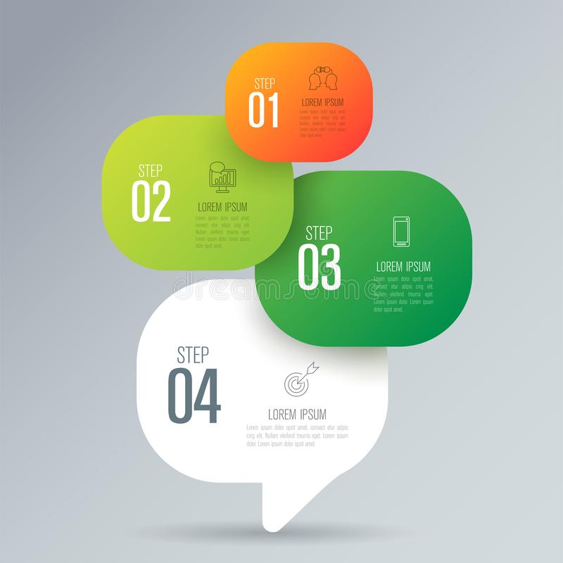 Infographics design vector and business icons with 4 options. Infographics design vector and marketing icons can be used for workflow layout, diagram, annual stock illustration