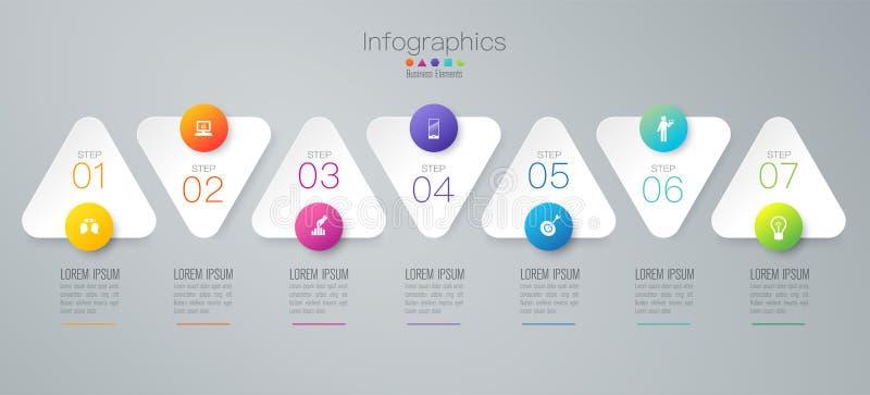 Infographics-Designvektor- und -geschäftsikonen mit 7 Wahlen lizenzfreie abbildung