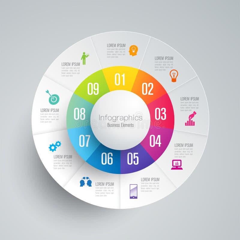 Infographics-Designvektor- und -geschäftsikonen mit 9 Wahlen lizenzfreie abbildung