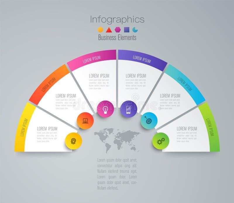 Infographics-Designvektor- und -geschäftsikonen mit 6 Wahlen vektor abbildung