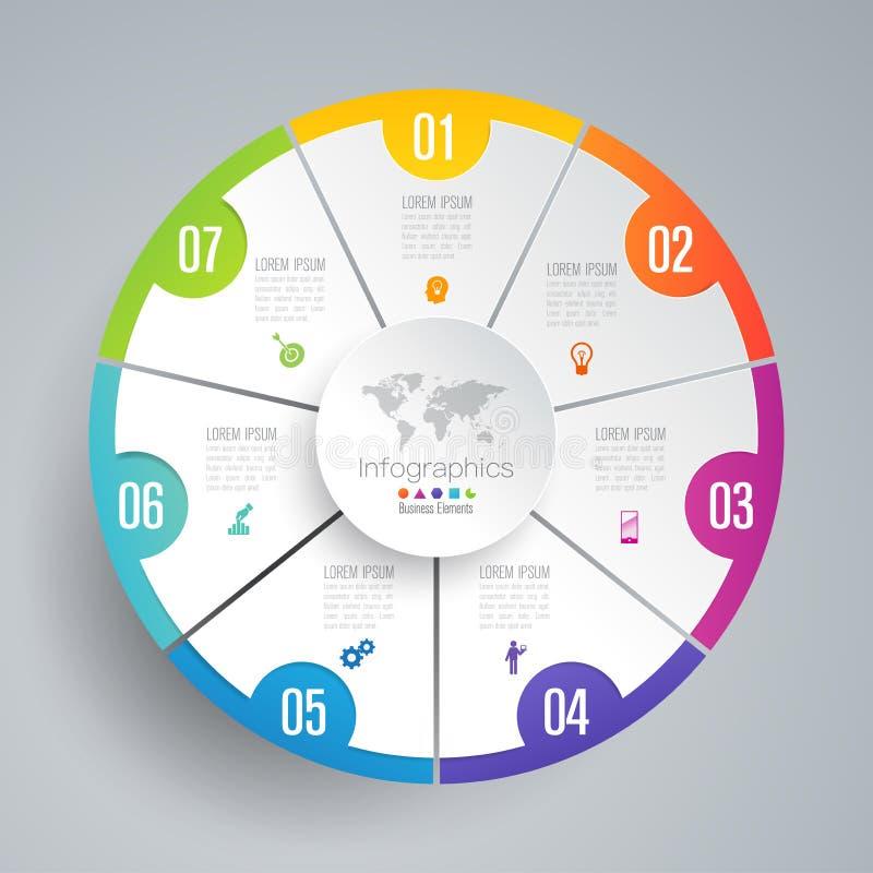 Infographics-Designvektor- und -geschäftsikonen mit 7 Wahlen stock abbildung