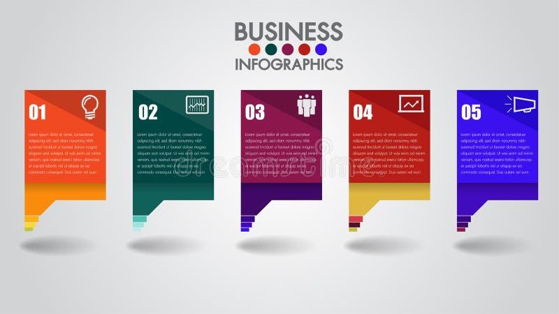 Infographics-Designvektor- und -marketing-Ikonen Geschäftskonzept mit 5 Wahlen, Schritten oder Prozessen Kästen fassen, Jahresber vektor abbildung