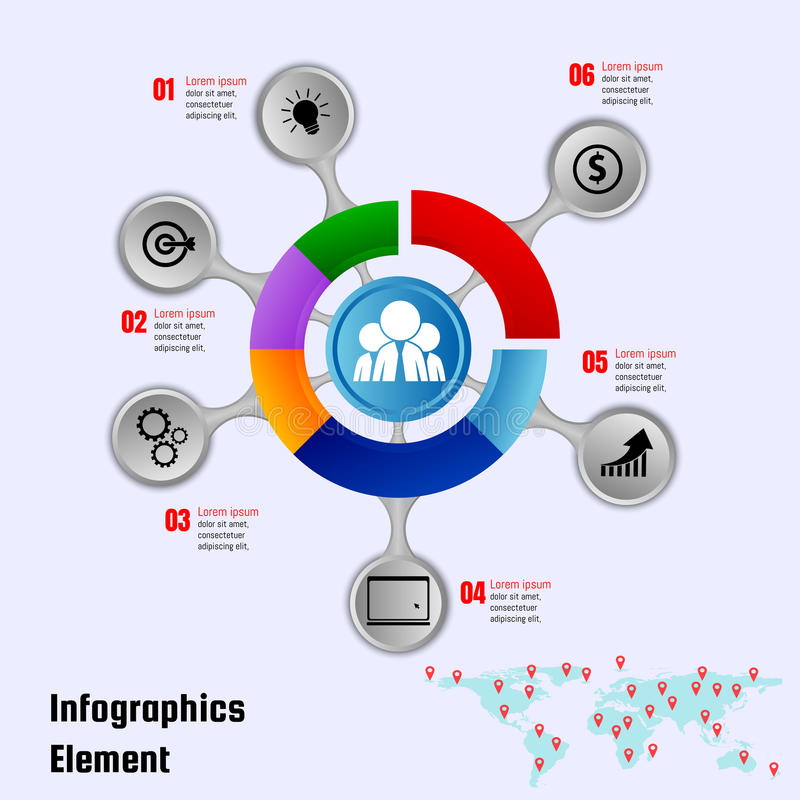 Infographics-Designvektor- und -marketing-Ikonen können für Geschäftskonzept mit 6 Wahlen, Schritten oder Prozessen benutzt werde vektor abbildung