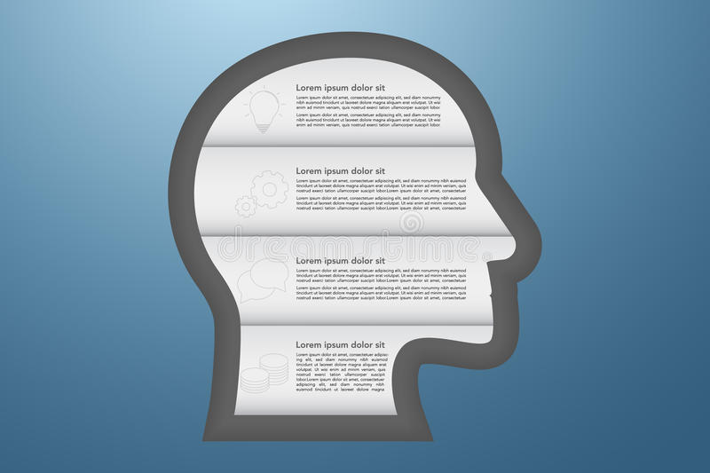 infographics di affari di 4 punti con le icone del profilo in styl di origami royalty illustrazione gratis