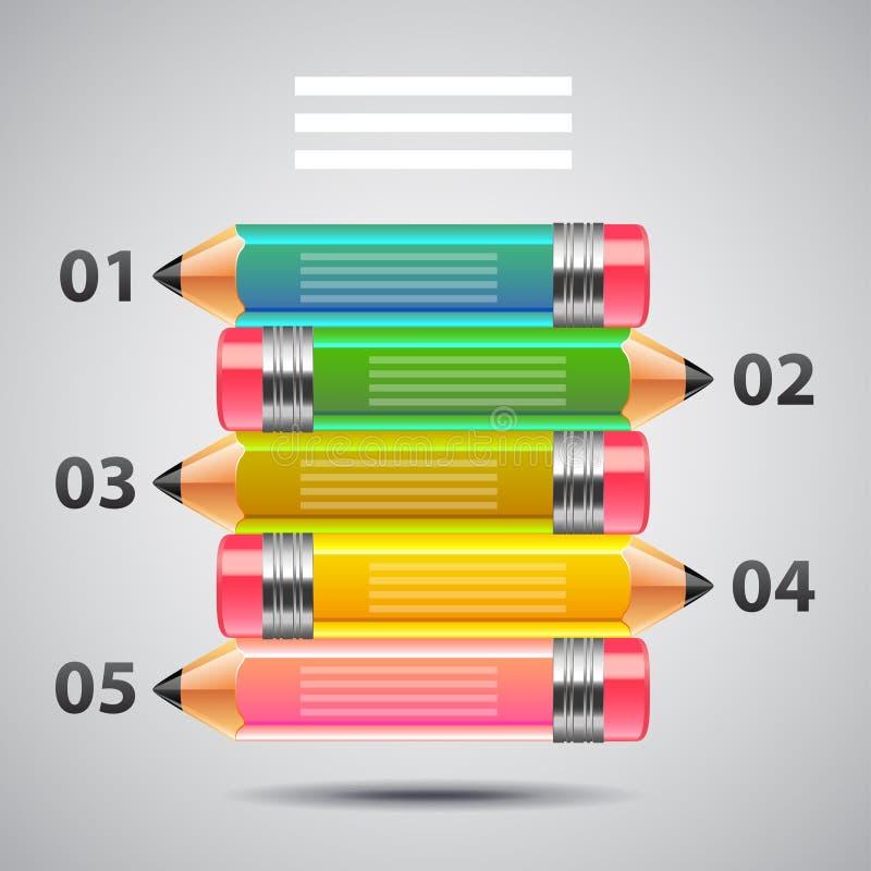 Infographics di arte con il vettore variopinto delle matite royalty illustrazione gratis