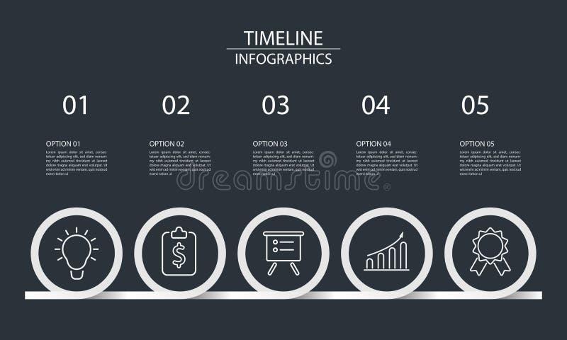 Infographics di cronologia di cinque punti royalty illustrazione gratis