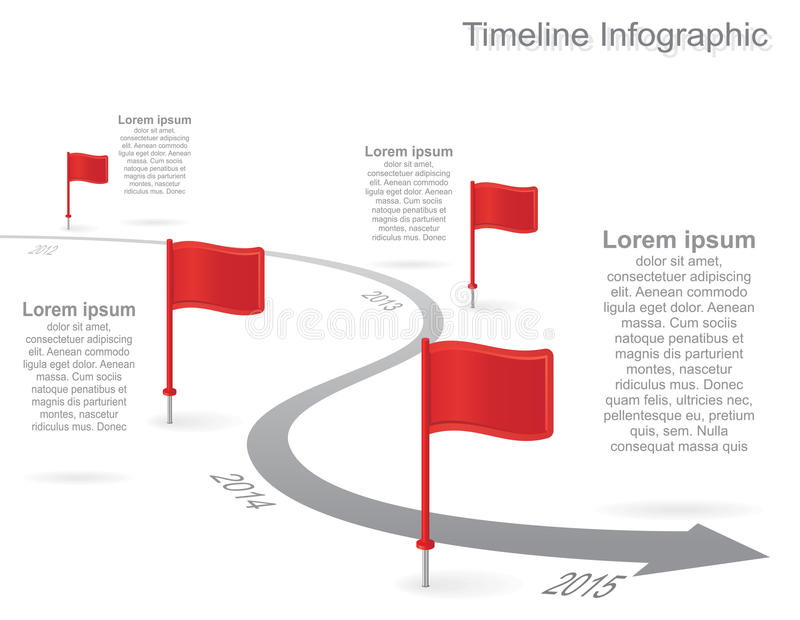 Infographics di cronologia con gli elementi, icone Vettore illustrazione di stock