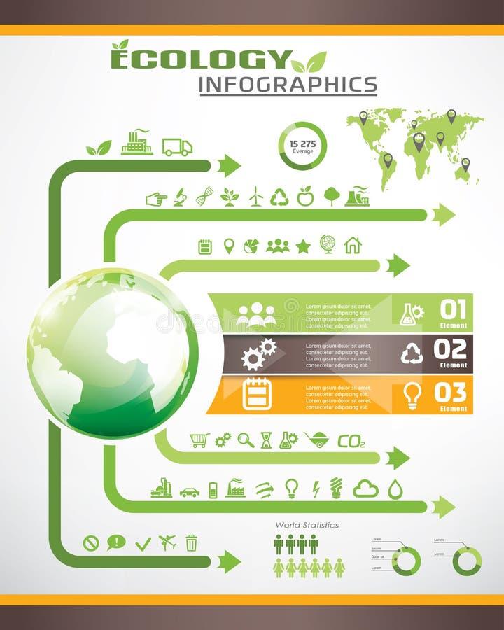 Infographics di ecologia, raccolta delle icone di vettore illustrazione di stock