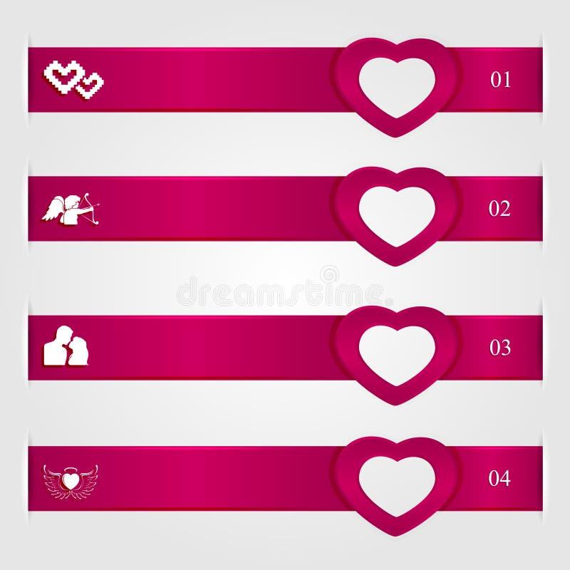 Infographics di giorno di biglietti di S. Valentino illustrazione di stock