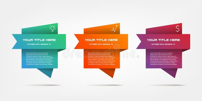 Infographics di pendenza graduale Elemento del grafico, grafico, diagramma con 3 opzioni - parti, processi, cronologie royalty illustrazione gratis