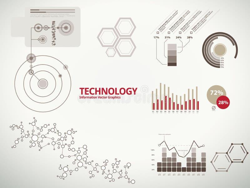 Infographics di tecnologia per il commercio con i diagrammi illustrazione vettoriale